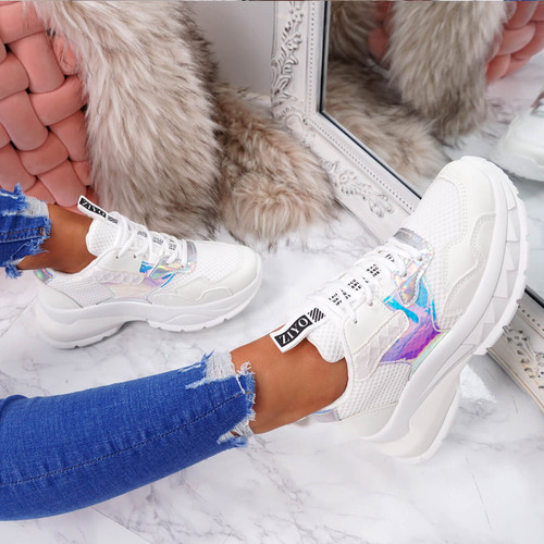 Geppe White Chunky Trainers