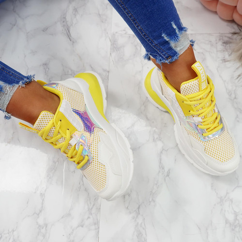 womens yellow lace-up chunky trainers sneakers size uk 3 4 5 6 7 8