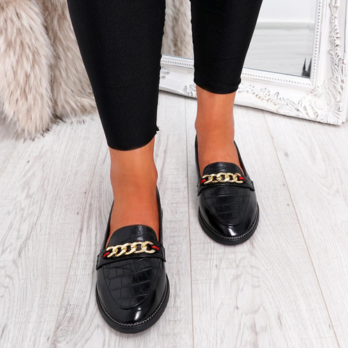 Remza Black Slip On Ballerinas
