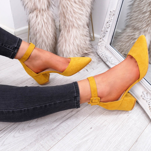 Tura Yellow Suede Pumps
