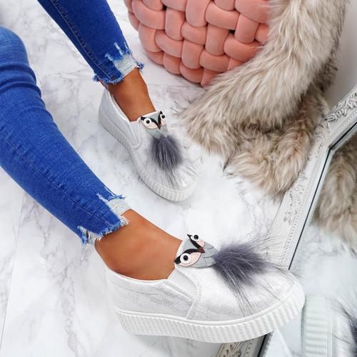 Menka White Pom Toe Flatform Trainers