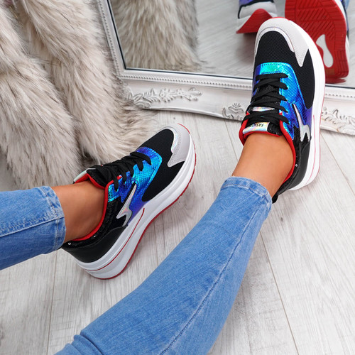 Hiwa Black Chunky Trainers