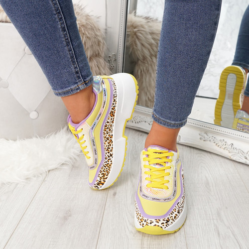 Fifi Yellow Animal Print Chunky Trainers