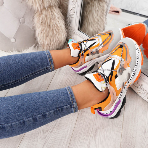 Izza Orange Chunky Trainers