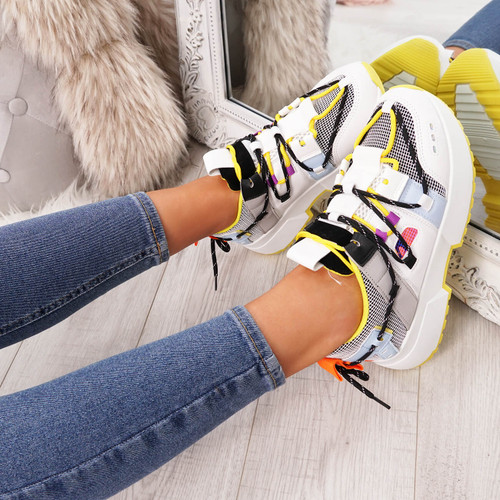 Womens Ladies Chunky Sole Sneakers Party Trainers Platform Shoes Size Uk 3 4 5 6 7 8 - Buy Now Pay Later with Klarna