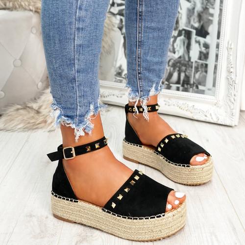 Black Sandals Flatform Platform High Heels For Womens Ladies Girls Uk Shoes Size Uk 3 4 5 6 7 8