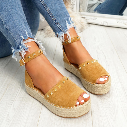 Womens Ladies Camel High Heel Sandals Party Flatform Platforms Peep Toe Rock Stud Shoes Size Uk 3 4 5 6 7 8
