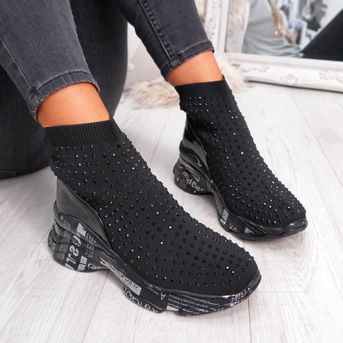 Womens Ladies Girls Sock Trainers High Top Studded Party Trainers Chunky Sole Black Shoes Size Uk 3 4 5 6 7 8