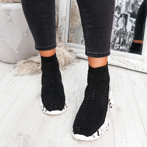 Sock Trainers Chunky Sole Sneakers Black Shoes for Womens Girls Ladies Party Shoes Size Uk 3 4 5 6 7 8