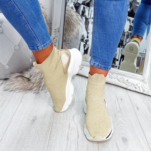 Idda Gold Sock Chunky Sneakers