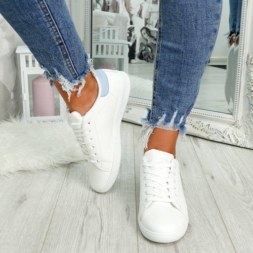 White and blue lace-up trainers for womens size uk 3 4 5 6 7 8