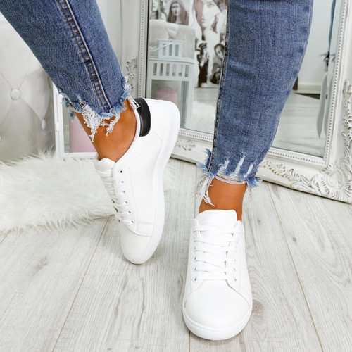 White navy blue lace-up trainers for womens size uk 3 4 5 6 7 8