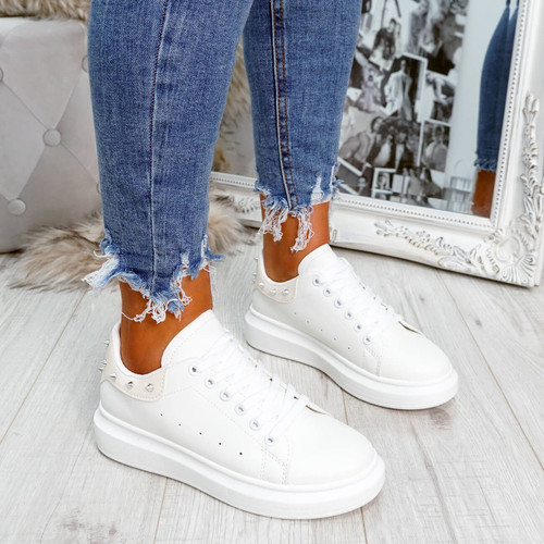 White beige rock studs lace-up trainers for womens size uk 3 4 5 6 7 8