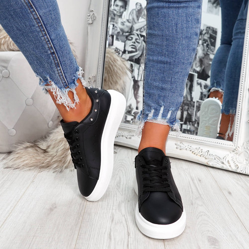 Black and white rock studs lace-up trainers for womens size uk 3 4 5 6 7 8
