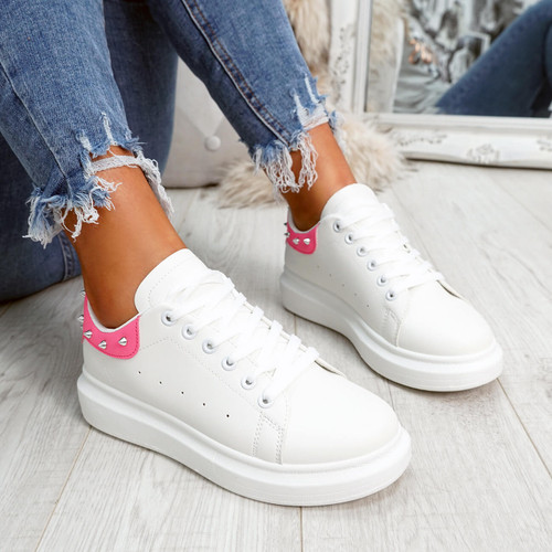 White fuchsia rock studs lace-up trainers for womens size uk 3 4 5 6 7 8