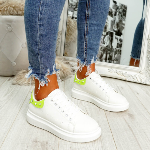 White green rock studs lace-up trainers for womens size uk 3 4 5 6 7 8