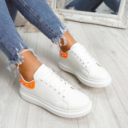 White orange rock studs lace-up trainers for womens size uk 3 4 5 6 7 8