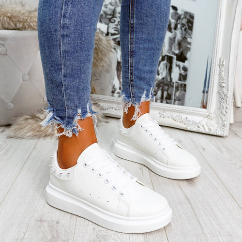 White rock studs lace-up trainers for womens size uk 3 4 5 6 7 8