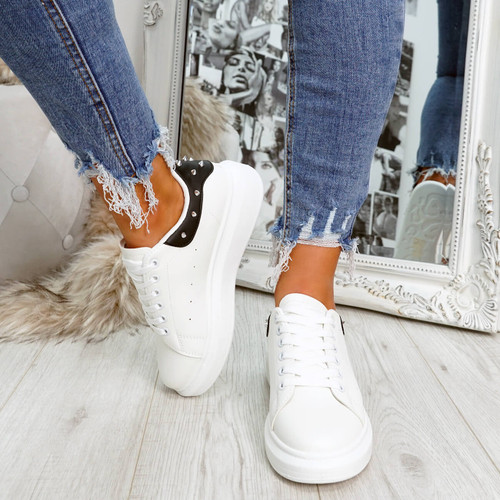 White black rock studs lace-up trainers for womens size uk 3 4 5 6 7 8