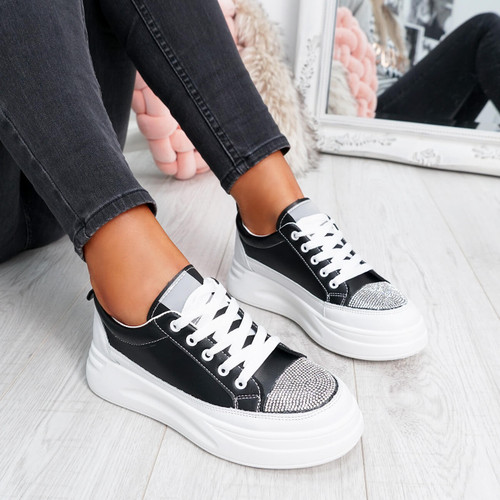 Black and white studs lace-up trainers for womens size uk 3 4 5 6 7 8