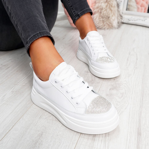 White studs lace-up trainers for womens size uk 3 4 5 6 7 8