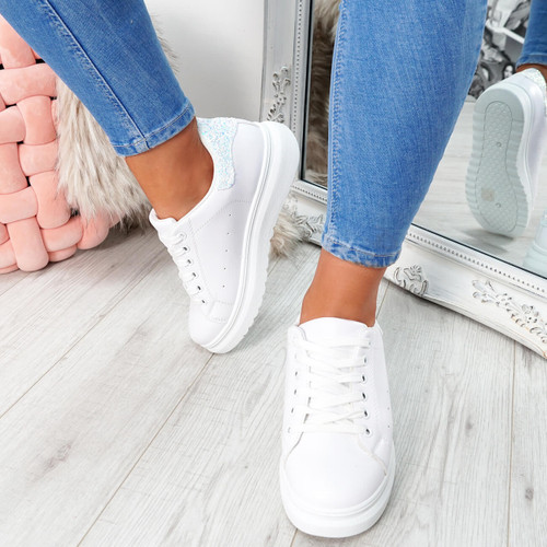White glitter lace-up trainers for womens size uk 3 4 5 6 7 8