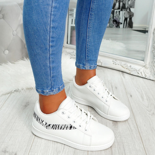 White zebra pattern lace-up trainers for womens size uk 3 4 5 6 7 8