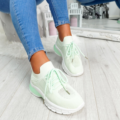 Light green mesh lace-up chunky trainers for womens size uk 3 4 5 6 7 8