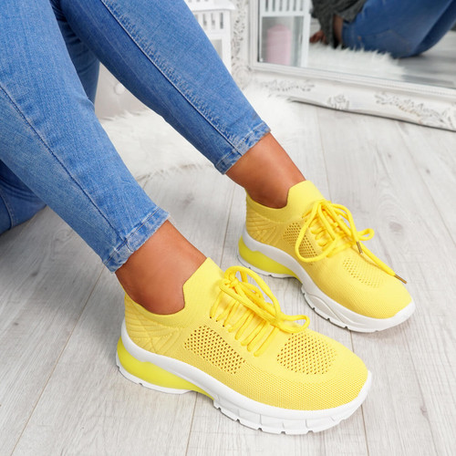 Yellow mesh lace-up chunky trainers for womens size uk 3 4 5 6 7 8