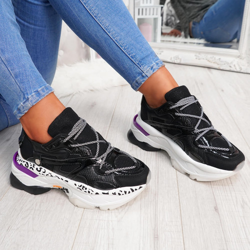 Black animal pattern lace-up chunky trainers for womens size uk 3 4 5 6 7 8