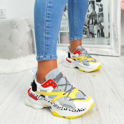 Colorful animal pattern lace-up chunky trainers for womens size uk 3 4 5 6 7 8