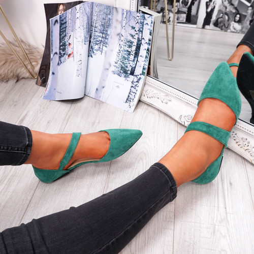 Green front strap pointed toe ballerinas womens size uk 3 4 5 6 7 8