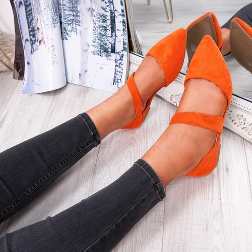 Orange front strap pointed toe ballerinas womens size uk 3 4 5 6 7 8
