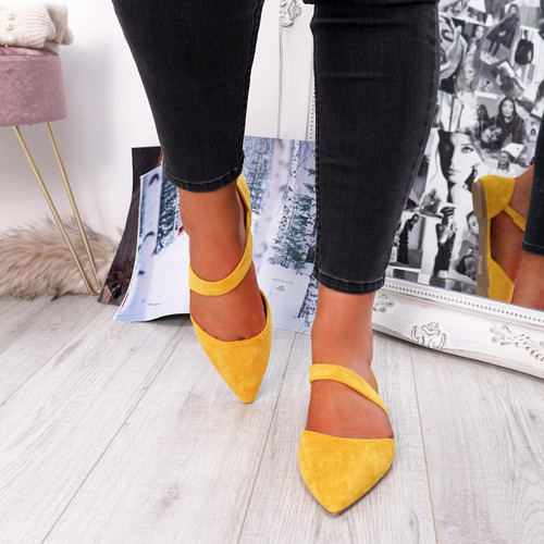 Yellow front strap pointed toe ballerinas womens size uk 3 4 5 6 7 8