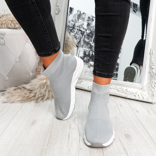 Grey sock sneakers trainers for womens size uk 3 4 5 6 7 8