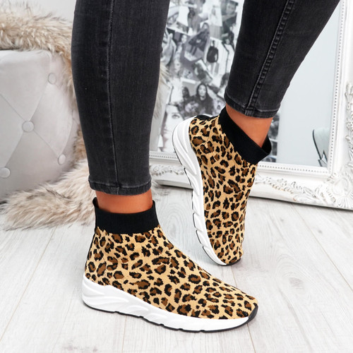 Leopard animal pattern sock sneakers trainers for womens size uk 3 4 5 6 7 8