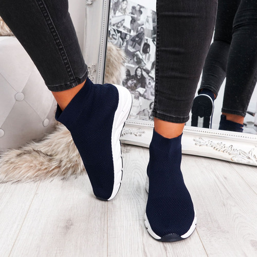 Navy blue sock sneakers trainers for womens size uk 3 4 5 6 7 8