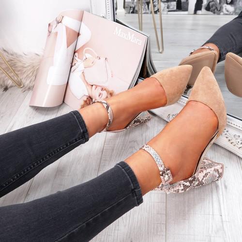 Camel snake pattern block heel pumps for womens size uk 3 4 5 6 7 8