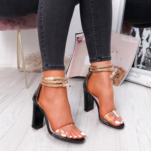 womens black color peep toe snake ankle strap block heels size uk 3 4 5 6 7 8