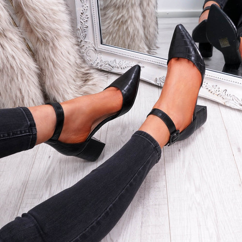 womens black color pointed toe croc animal pattern ankle strap block heels size uk 3 4 5 6 7 8