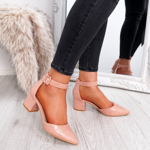 womens pink color pointed toe croc animal pattern ankle strap block heels size uk 3 4 5 6 7 8