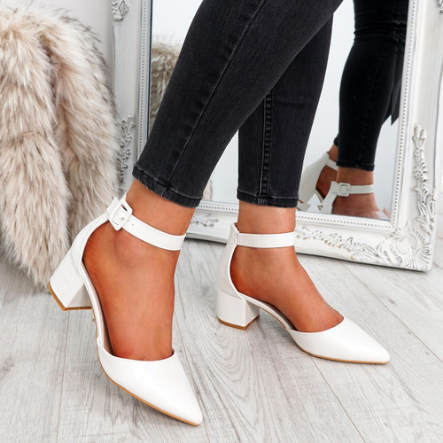womens white color pointed toe croc animal pattern ankle strap block heels size uk 3 4 5 6 7 8