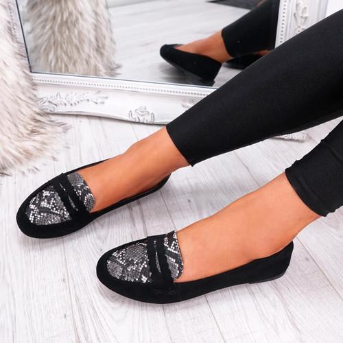 womens black color slip on snake animal pattern ballerinas size uk 3 4 5 6 7 8