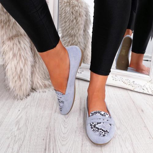 womens blue color slip on snake animal pattern ballerinas size uk 3 4 5 6 7 8