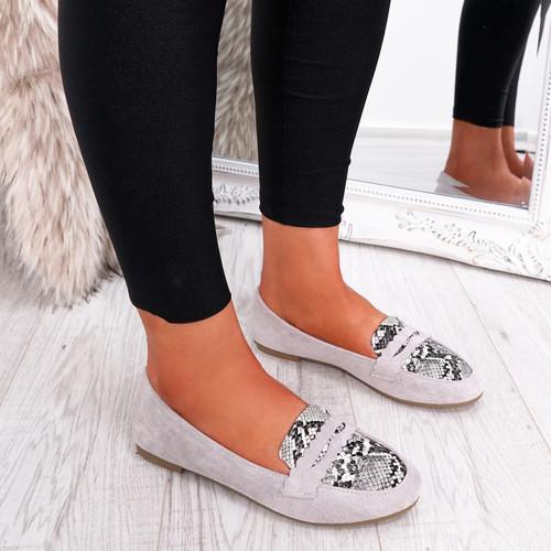 womens grey color slip on snake animal pattern ballerinas size uk 3 4 5 6 7 8