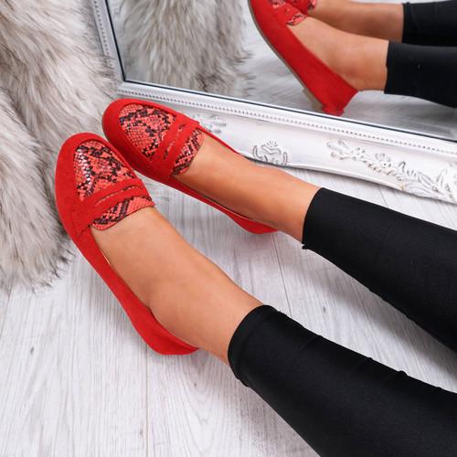 womens red color slip on snake animal pattern ballerinas size uk 3 4 5 6 7 8