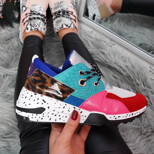 womens blue turquoise pink red lace-up platform trainers sneakers with snake and leopard pattern size uk 3 4 5 6 7 8