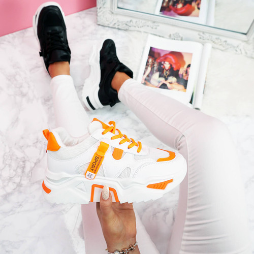 womens orange and white lace-up platform trainers sneakers size uk 3 4 5 6 7 8