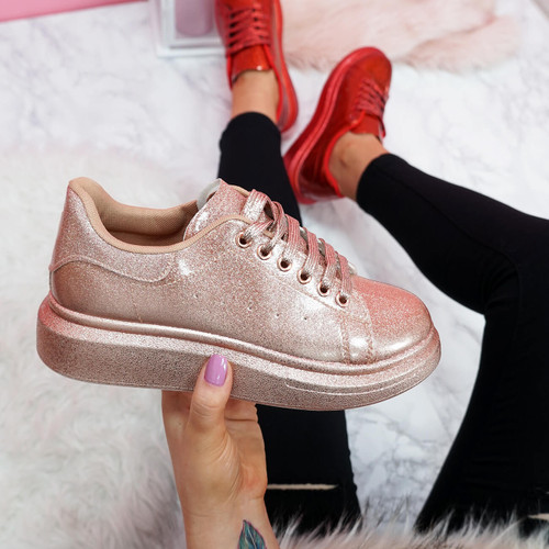 womens champagne glitter lace-up platform trainers sneakers size uk 3 4 5 6 7 8