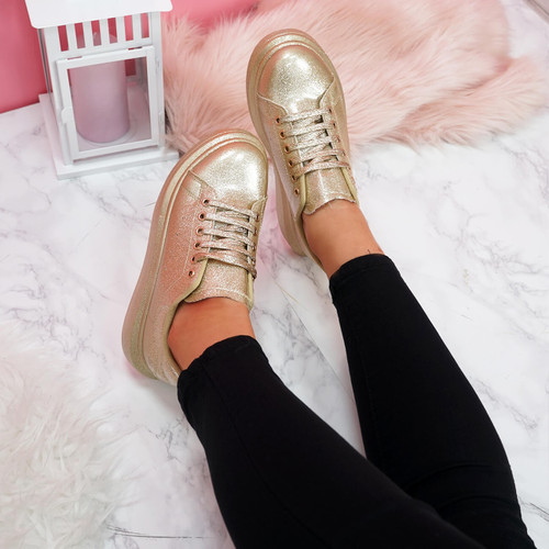 womens gold glitter lace-up platform trainers sneakers size uk 3 4 5 6 7 8